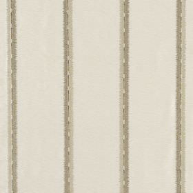Jammu Stripe - Ivory - Viscose and silk blend fabric in white featuring widely spaced pairs of grey-beige vertical stripes