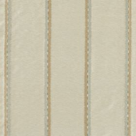 Jammu Stripe - Breeze - Pairs of grey and light brown stripes spaced widely apart on cream coloured fabric made from viscose and silk