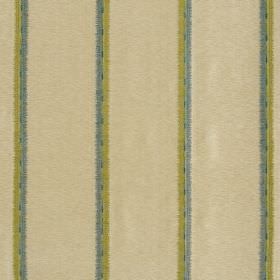 Jammu Stripe - Parmesan - Fabric made from beige viscose and silk, printed with widely spaced pairs of vertical stripes in light blue and gr