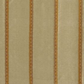 Jammu Stripe - Pyramid - Honey and brown coloured stripes arranged in pairs over limestone coloured fabric made from viscose and silk