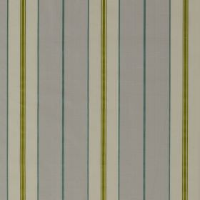 Parasol Stripe - French Grey - 100% silk fabric patterned with simple, repeated stripesin three different shades of pale blue, as well as o
