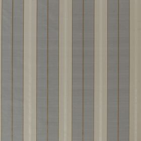 Parasol Stripe - Snakeskin - White, blue-grey, pale grey and brown-beige vertical stripes repeatedly patterning fabric made from 100% silk