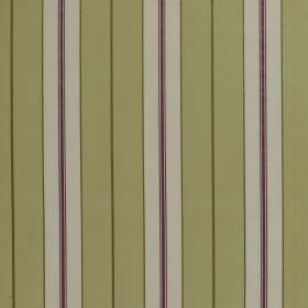 Parasol Stripe - Celadon - Fabric made from vertically striped 100% silk, featuring bands of white, pale green, olive green and aubergine