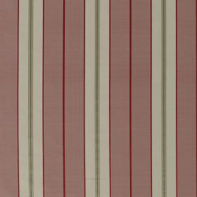 Parasol Stripe - Rosette - Vertically striped 100% silk fabric made in two light shades of grey,dusky red and a pale shade of red-pink