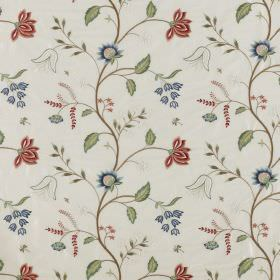 Silwood Silk - Spindleberry - Floral patterned 100% silk fabric in white, printed with a pattern in dusky shades ofred, green, blue and gre
