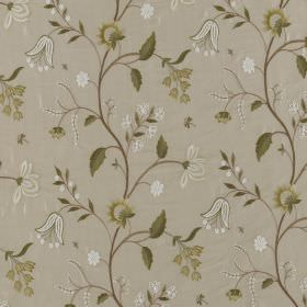 Silwood Silk - Blanched Almond   Natural - Several different shades of grey, olive green and whitemaking up a floral patterned fabric made