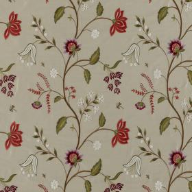 Silwood Silk - Shiraz - Light grey 100% silk fabric as a background to a floral pattern in green, purple, dusky red and white