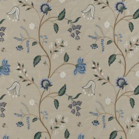 Silwood Silk - Blanched Almond   Blues - Various different shades of blue and grey making up a floral pattern on 100% silk fabric