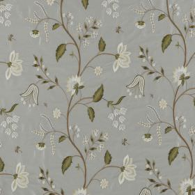 Silwood Silk - French Grey - White flowers in different styles printed with dusky green leaves on 100% silk fabric ina pale blue-grey colou