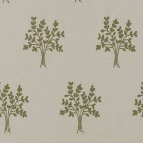 Orchard Silk - Mistletoe Green - Bundles of green-grey coloured leaf-like wheat printed on a background of pale grey fabric made from 100% s