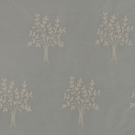 Orchard Silk - French Grey - Bundles of wheat that look like simple leaves repeatedly printed in white on 100% silk fabric made in powder bl