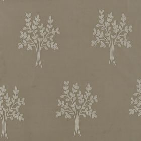 Orchard Silk - Plover - White sprigs of wheat that look like simple leaves printed in rows on grey fabric made entirely from silk