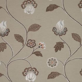 Oriel - Coral Blue - Detail of stylish flowers and leaves in white, grey & brown against light grey fabric made from linen, cotton & viscose