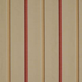 Minstrel Stripe - Castara - Simple stripes printed on fabric made from cotton, linen and silk in beige, dusky red and light brown-gold colou