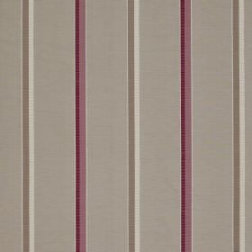 Minstrel Stripe - Gosling - Three shades of grey with two shades of purple making up a vertically striped fabric containing cotton, linen an