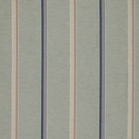 Minstrel Stripe - Glaze - Cotton, linen and silk blend fabric featuring a simple, classic stripe design in light shades of grey, blue and wh