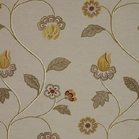Oriel - Red Gold - Linen, cotton and viscose blend fabric in pale grey, behind a floral design in a darker shade of grey and gold