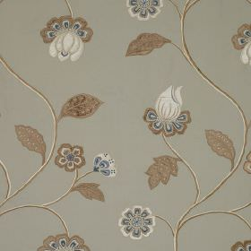 Oriel - Glaze - Light brown, blue and white flowers with matching leaves arranged on fabric made from linen, cotton and viscose in grey