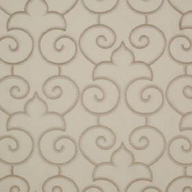 Parterre - Honesty - Very simple swirls and curves printed in brown and pale grey over linen and silk blend fabric in a paler shade of grey