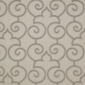 Parterre - Marble Grey - Three different pale shades of grey in a simple design of simple swirls and curved arches on linen and silk blend f