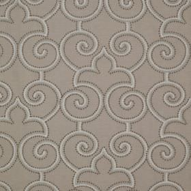 Parterre - Gosling - Fabric made from grey linen and silk, patterned with swirls, curved arches, simple lines and dots in shades of grey