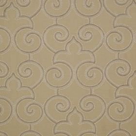Parterre - Castara - Dots, swirls and curved arches in greys and white printed on fabric made from linen and silk in light cream-beige