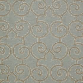 Parterre - Glaze - White, grey and light blue fabric made from linen and silk, printed with a repeated design of dots, swirls and curved arches