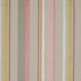 Cheyne Stripe - Pastel - Fabric made from several materials with a design of patterned and plain stripes in grey, olive green, pink, white and p