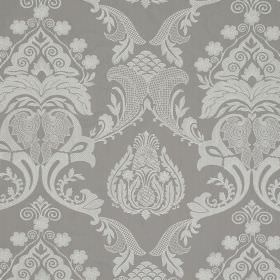Ebury - Pale Slate - Linen and cotton blend fabric featuring a repeated, ornate series of designs in two different shades of grey