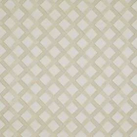 Mews Trellis - Cream - A simple beige grid printed diagonally over a very pale grey bemberg, viscose, linen and PBT blend fabric background