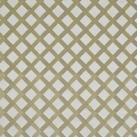 Mews Trellis - Bronze - Fabric made from very pale grey bemberg, viscose, linen and PBT behind a very simple grid printed in brown