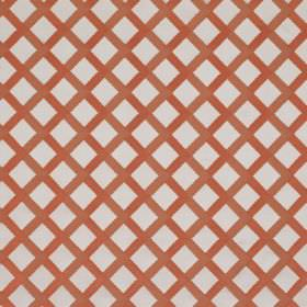 Mews Trellis - Light Red - Bemberg, viscose, linen and PBT blended into a very pale grey and brick red fabric printed with a simple grid
