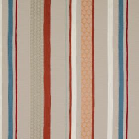 Cheyne Stripe - Red and Blue - Striped linen, polyester and silk blend fabric featuring plain and patterned bands in grey, blue, white and d
