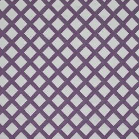 Mews Trellis - Purple - A very simple grid pattern printed on bemberg, viscose, linen and PBT blend fabric made in both pale blue and dark b