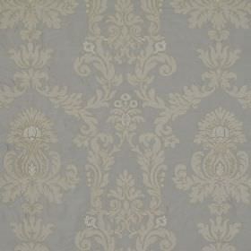 Pimlico - French Grey - Ornate silver designs repeatedly printed in a subtle pattern over pale blue coloured 100% silk fabric