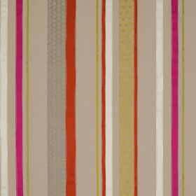 Cheyne Stripe - Bright - Orange, pink, grey, white and beige coloured vertically striped fabric made from linen, polyester and silk