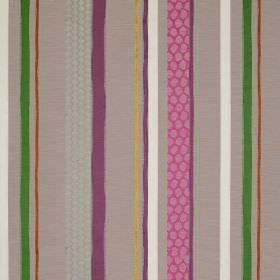 Cheyne Stripe - Purple and Green - Multicoloured striped fabric containing various materials, with bands in grey, green, purple, white and b