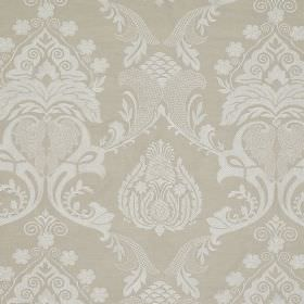 Ebury - Natural - Ornate pale grey patterns repeatedly printed on a background of linen and cotton blend fabric in a darker shade of grey