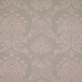 Ebury - Chanterelle - Grey and pink-grey coloured linen and cotton blend fabric featuring a repeated design of detailed, ornate patterns