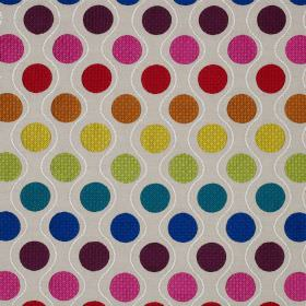 Calypso - Multi - Bright, multicoloured polka dots printed with thin wavy white lines on very pale grey-white linen & cotton blend fabric