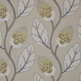 Portobello Flower - Yellow - Leaves and stylised flowers printed in white, grey, pale yellow and gold on putty coloured linen and cotton ble