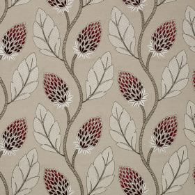 Portobello Flower - Fuchsia - Linen and cotton blend fabric in off-whtie, printed with leaves and stylised flowers in white, grey and dark p