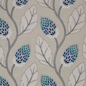 Portobello Flower - Blue - Bright and dark shades of blue making up stylised flowers, printed with grey and white leaves on linen and cotton blend