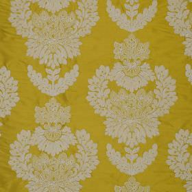 Westbourne Damask - Cleopatra - Ornate white jacquard patterns creating a large, striking design on mustard yellow coloured 100% silk fabric