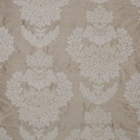Westbourne Damask - Plover - 100% silk fabric in a light shade of grey, featuring a large, subtle, white, ornate jacquard pattern