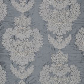 Westbourne Damask - Nordic Blue - Jacquard patterned 100% silk fabric, featuring a white, ornate design on a luxurious pale blue background