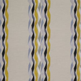 Carnival Stripe - Yellow - White linen and cotton blend fabric printed with a twisted ribbon style stripe design in black, gold and shades o