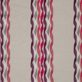 Carnival Stripe - Fuchsia - White, grey, dark purple and bright pink making up a twisted ribbon style stripe design on linen and cotton blen