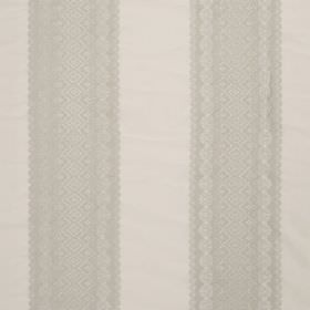 Cosmos Lace - Ivory - Very subtly patterned, wide, light grey stripes printed vertically on a blended fabric background in an even paler sha