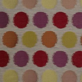 Luna - Carnival - Rich and pale multicoloured dots with blurred edges printed on blended fabric in a very pale shade of grey